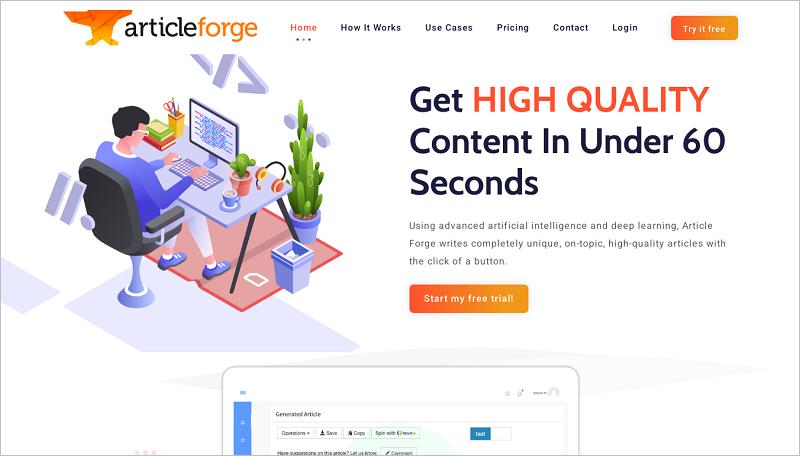 Article Forge - Phần mềm tạo Article tốt nhất