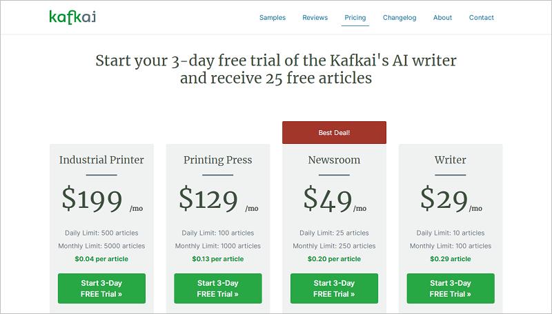 Kafkai - Trình tạo nội dung AI tốt nhất