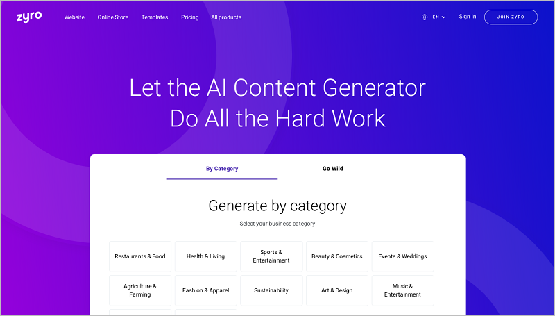 Trình tạo nội dung AI của Zyro