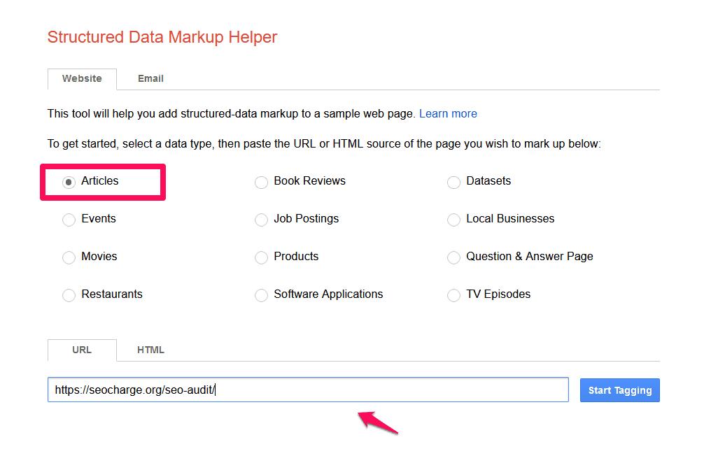 Trước tiên, hãy chuyển đến Trình trợ giúp đánh dấu dữ liệu có cấu trúc của Google và chọn loại dữ liệu,